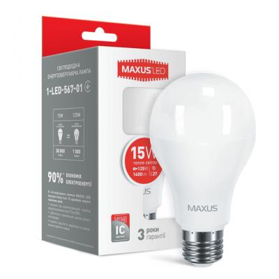 LED лампа MAXUS A70 15W теплый свет E27 (1-LED-567-01)
