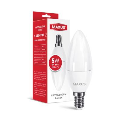 Лампа светодиодная MAXUS 1-LED-731 C37 5W 3000K 220V E14