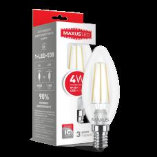 LED лампа MAXUS (filam), C37, 4W, яркий свет,E14 (1-LED-538-01)