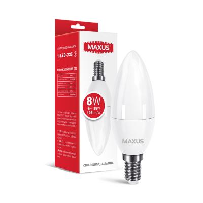 Лампа светодиодная C37 8W 3000K 220V E14 1-LED-735