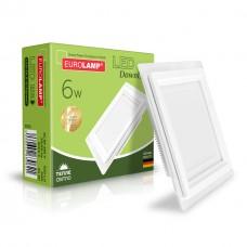 Светодиодный EUROLAMP LED Светильник квадратный DownLight 6W 3000K (стекло)