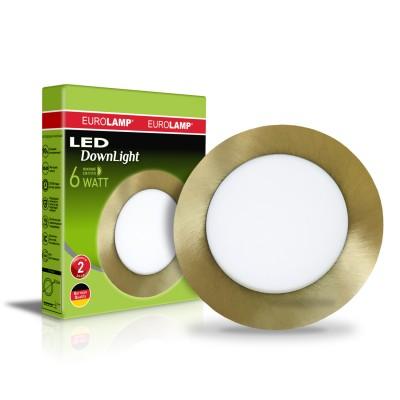 Светодиодный EUROLAMP LED Светильник круглый точечный 6W 4000K(golden)