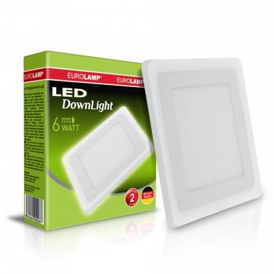 Светодиодный EUROLAMP LED Светильник квадратный точечный 6W 4000K(white)