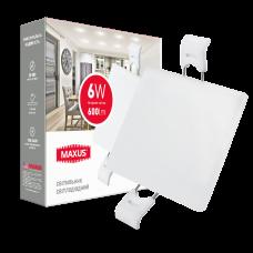 Светильник врезной MAXUS SP edge 6W, 4100К (квадрат)