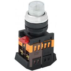 Кнопка ABLFP-22 прозрачная Ø22мм неон/220В 1з+1р