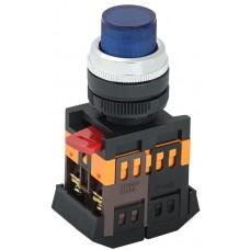 Кнопка ABLFP-22 синяя Ø22мм неон/220В 1з+1р