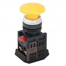 Кнопка AEА-22 «Грибок» желтая Ø22мм 1з+1р