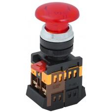 Кнопка AELA22 «Грибок» красная Ø22мм неон/220В 1з+1р