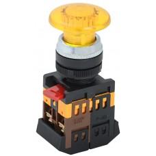 Кнопка AELA22 «Грибок» желтая Ø22мм неон/220В 1з+1р