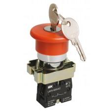 Кнопка LAY5-BS142 «Грибок» с ключом красная Ø22мм 220В 1з+1р